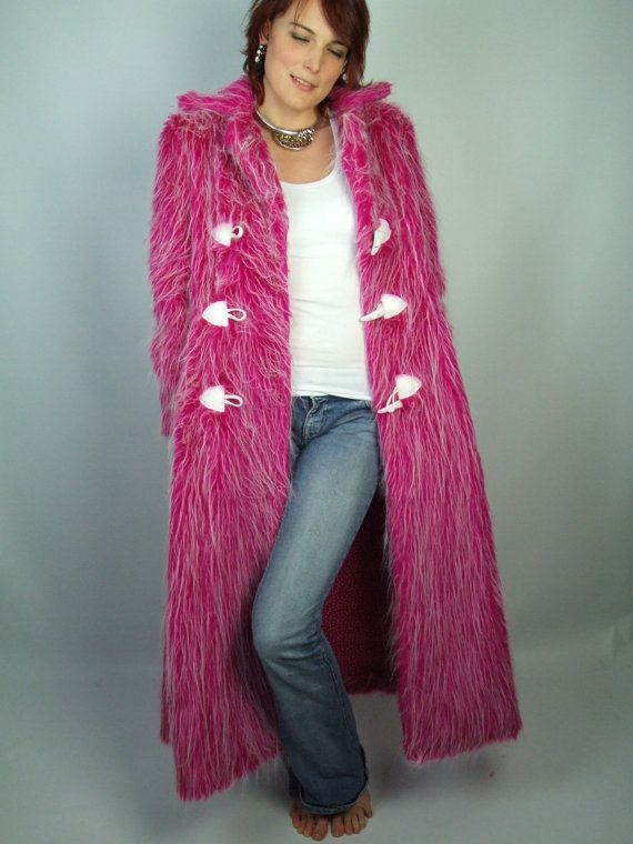 Faux Fur Coat, Neon Pink White, UV, Long Full Length, Jacket, S ...