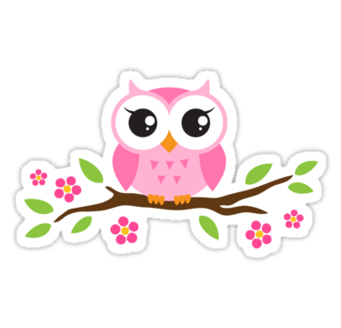 Cute pink cartoon baby owl sitting on a branch with leaves and flowers sticker by mheadesign
