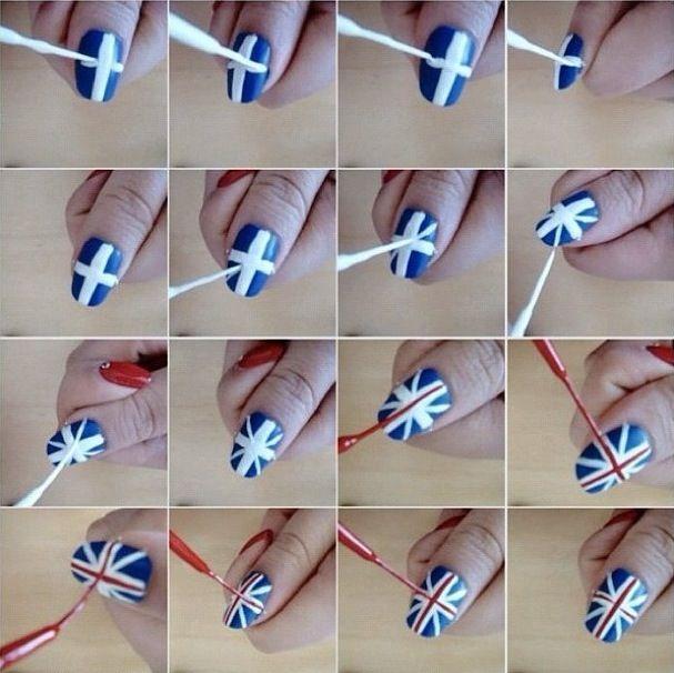 British flag nails | Beauty tutorials and such | Pinterest | British ...