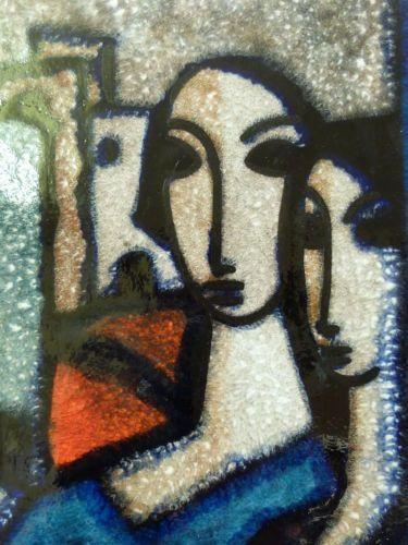 Wandplatte gross keramik majolika frauenkopfe abstrahiert um 1950 italien wall plaque wall - Wandteller modern ...