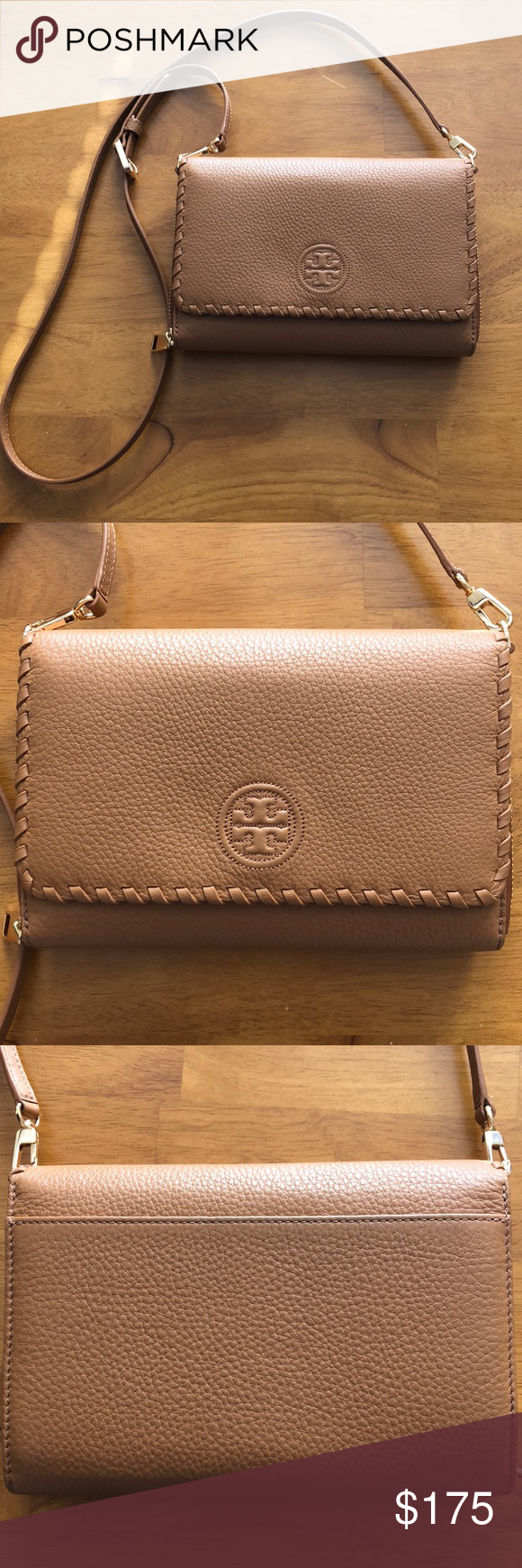 "d199a8b695c9 Tory Burch Marion Flat Wallet Crossbody ""Bark"" colored Tory Burch Bags  Crossbody Bags"