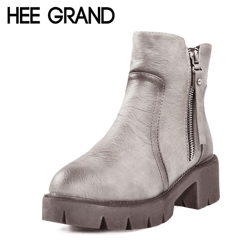 Hee Grand Plataforma Tornozelo Botas De Inverno Mulheres Quente Moda Britanica Pu Motocicleta Tornozelo Botas Sapatos Boots Winter Ankle Boots Boot Shoes Women