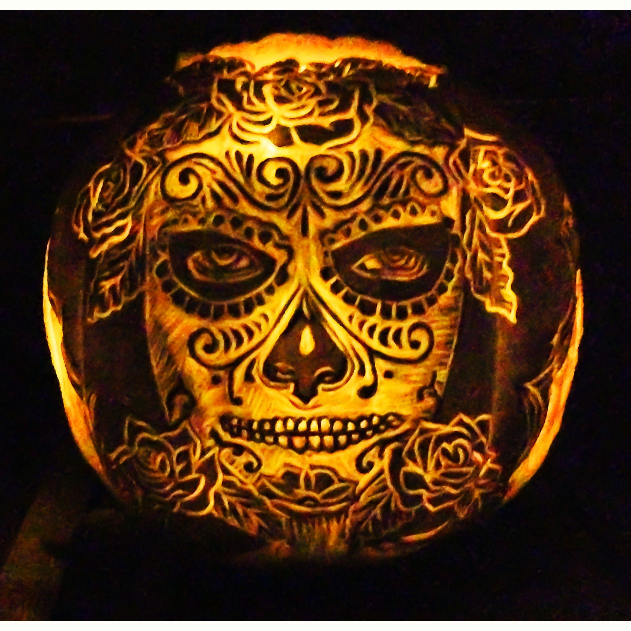 pumpkin carved by m rains for a day of the dead halloween party rh pinterest com day of the dead skull pumpkin carving day of the dead pumpkin carving easy