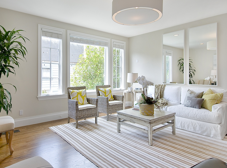 Tamara Mack Design White And Yellow Living Room With