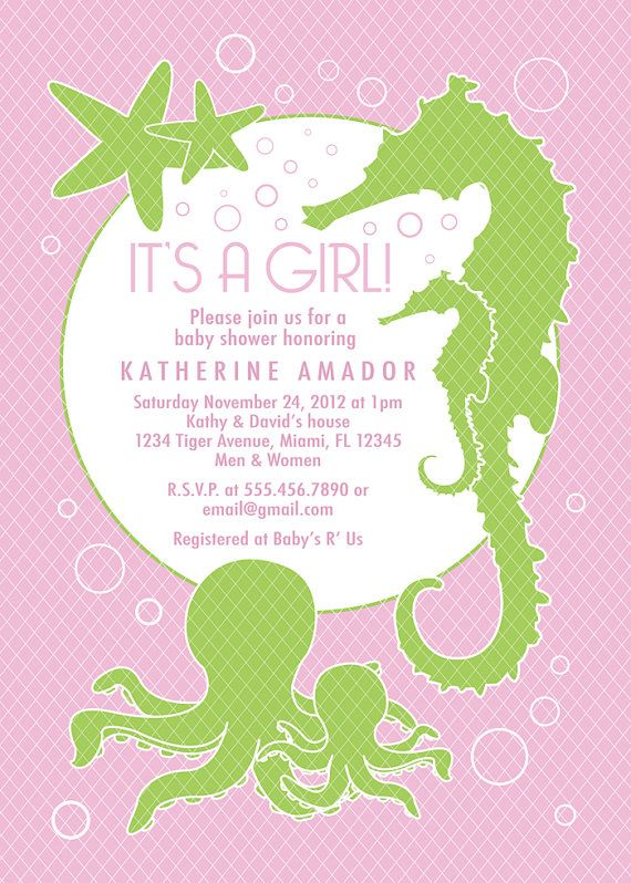 Color Options Girl Sea Theme Baby Shower Invitation By Papersquid