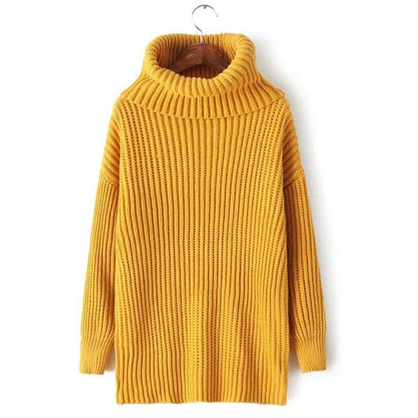 Womens Plain Polo Neck Thick Pullover Knitted Sweater Yellow ($27 ...