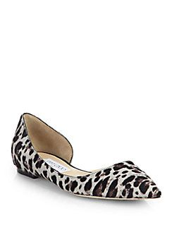 Jimmy Choo - Walton Leopard-Print Calf Hair d'Orsay Flats