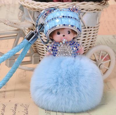 Crystal Monchichi sleutelhanger monchhichi Dolls real fur pom pom keychain car key chain ring women charm bag pendant porte clef