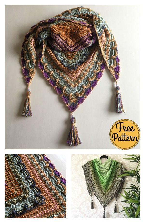 Lost In Time Triangle Shawl Free Crochet Pattern Crochet