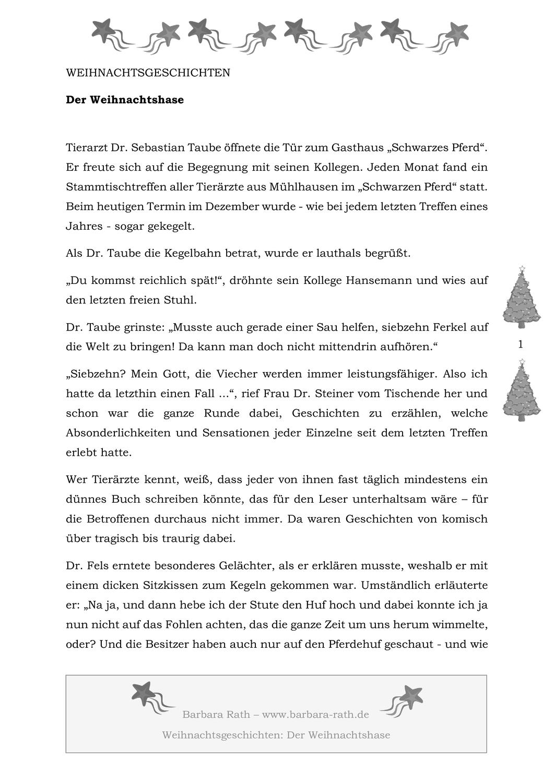 Der Weihnachtshase Kurzgeschichte Unterrichtsmaterial In Den Fachern Deutsch Fachubergreifendes Kurzgeschichten Weihnachtsgeschichte Schone Weihnachtsgeschichte