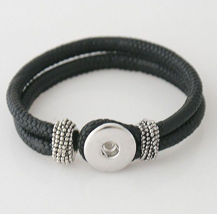 PU leather Charm Bracelet Interchangeable 18mm Snap on Jewelry B56