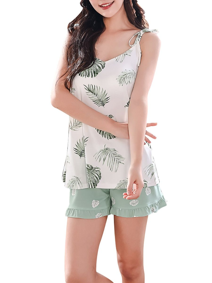 b5545f378712c1 Buy Women s 2Pcs Pajama Set V Neck Sleeveless Padded Leaf Pattern Comfy  Home Suit   Women s Pajamas - at Jolly Chic