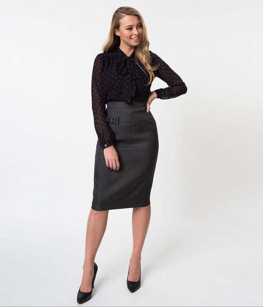 5b0d538cf9ac2 1940s Charcoal Grey High Waist Bow Secretary Pencil Skirt in 2019 ...