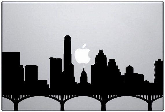 austin skyline laptop decal texas silhouette