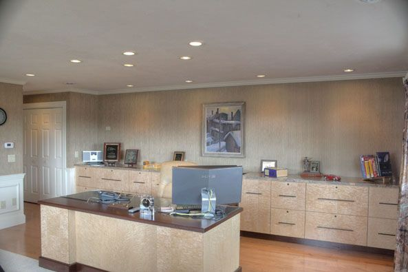 Home Office Birds Eye Maple Cabinetry Modified To Accommodate
