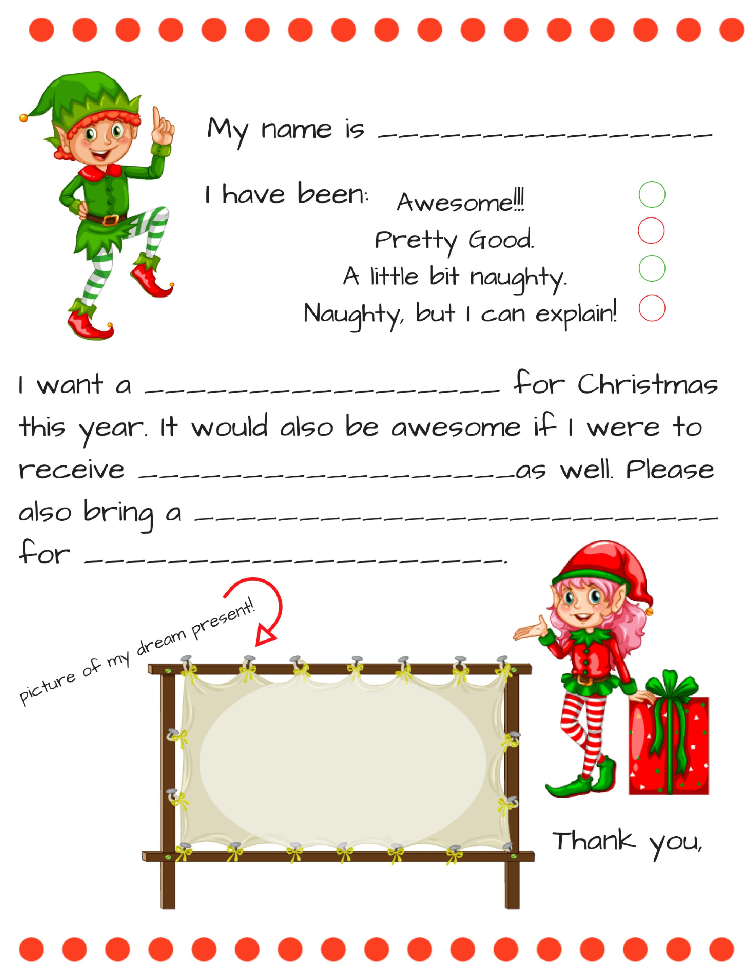 Dear Santa Fill In Letter Template Santa template