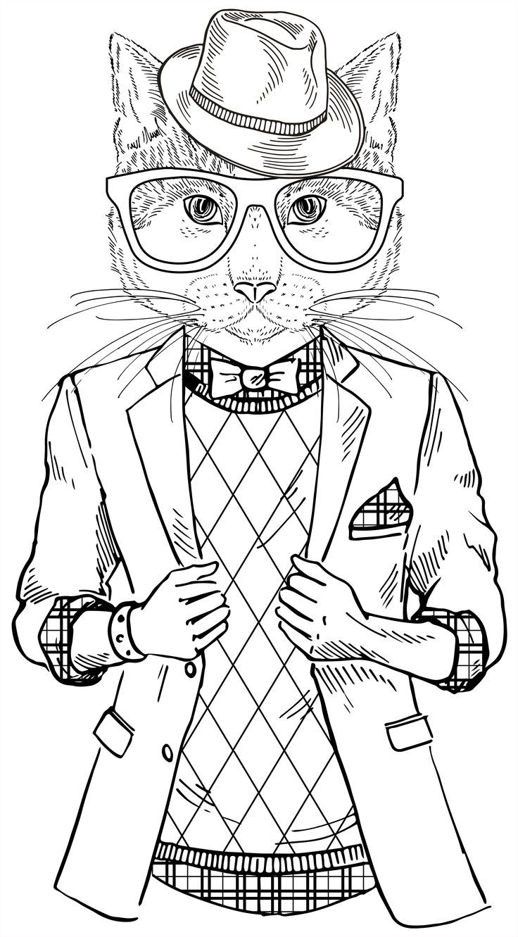 Cat coloring book for adults google search zentangle Dapper animals coloring book