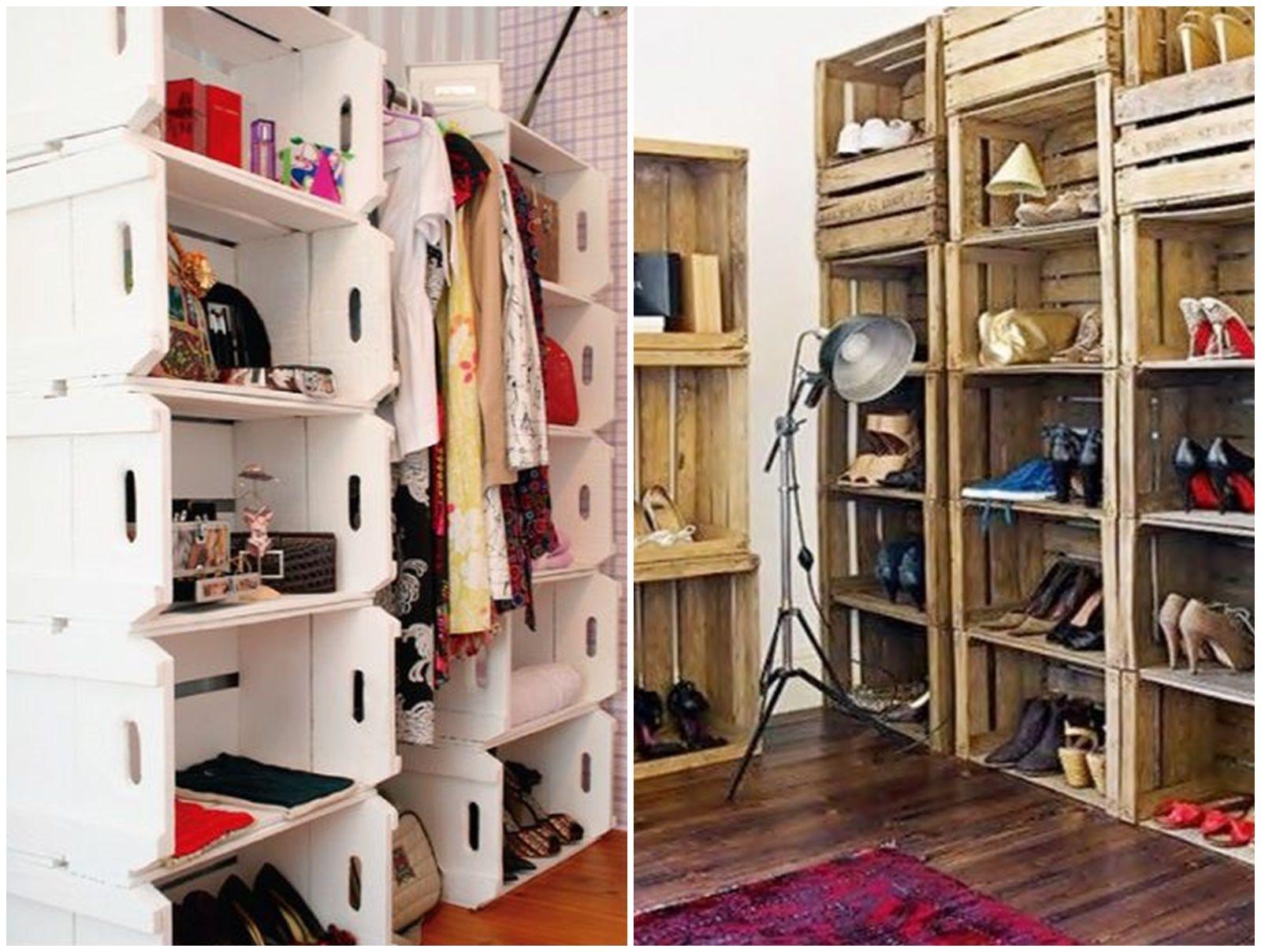 Closet feito com caixotes de feira decoracion for Decoracion hogar artesanal