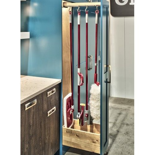 Glideware GLD-W22-BC-7 22in D Pan/Utility Organizer with Blum Slides, 7 hooks, Maple Wood