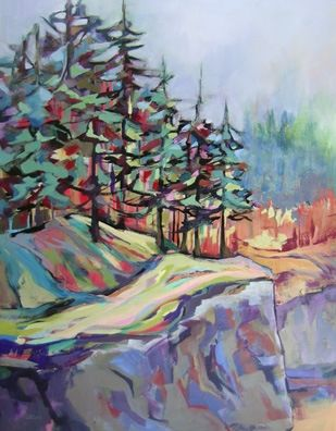 Donna s Bluff, contemporary landscape painting with trees, painting by artist Carolee Clark