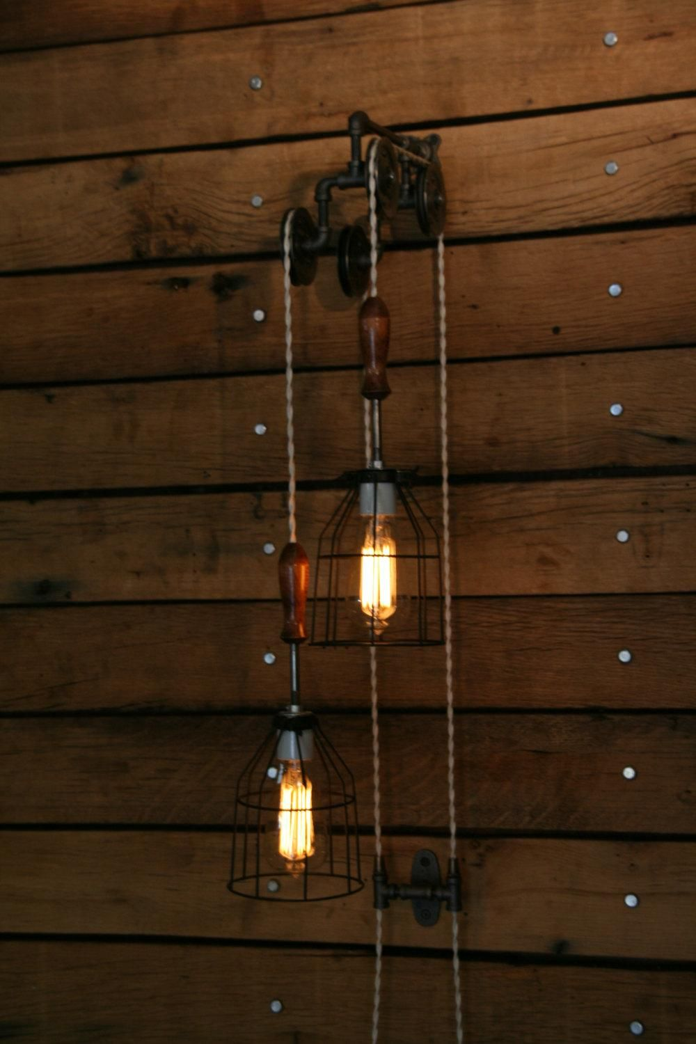 Just Custom Lighting Listings View Wood Handle Industrial Pulley Wall Mount Light Trolley Wall Light Hanging Pendant Lights Wall Mounted Light Hanging Lights