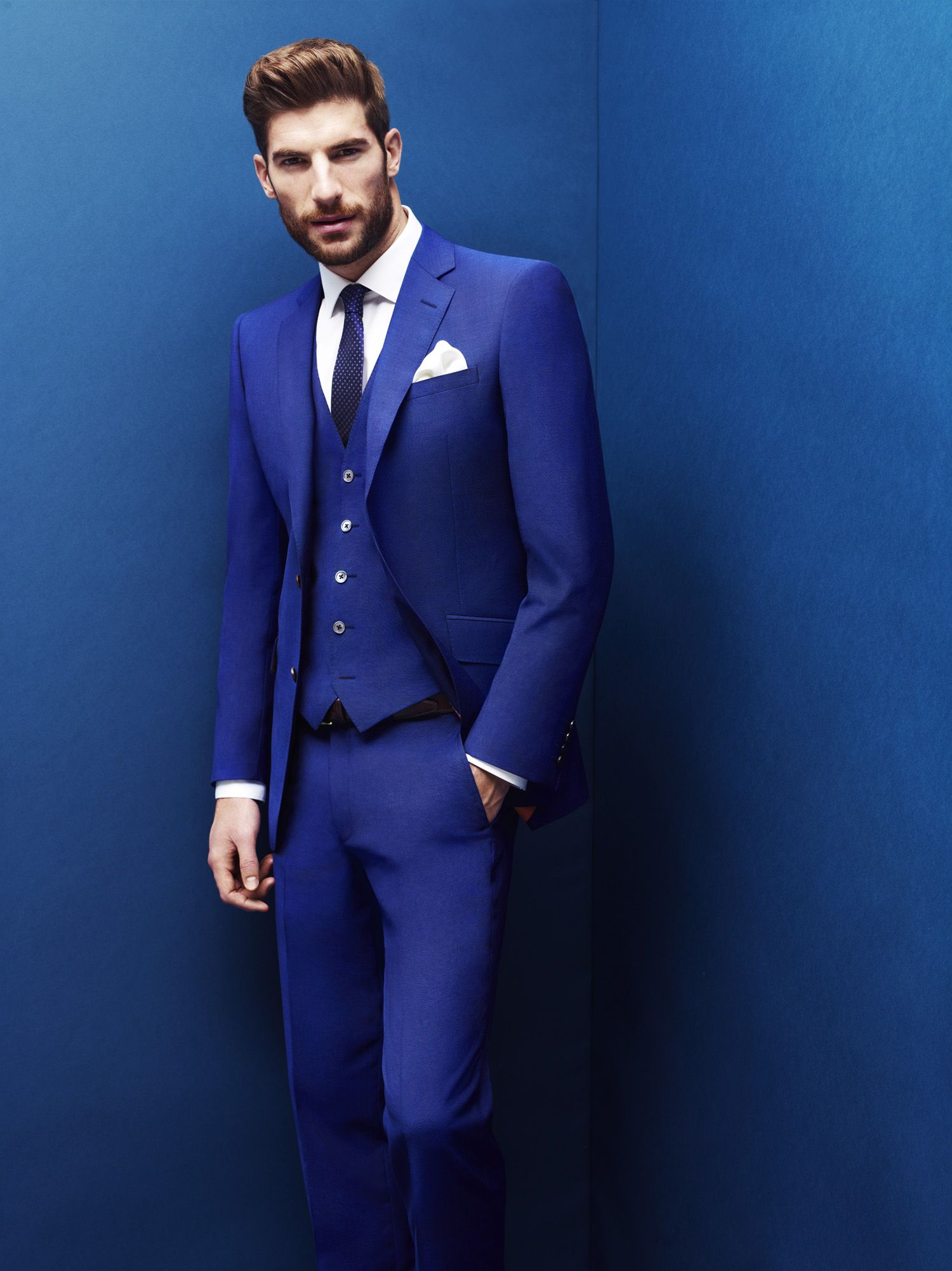 2 Piece Moss 1851 Electric Blue Suit With Matching Bespoke Waistcoat