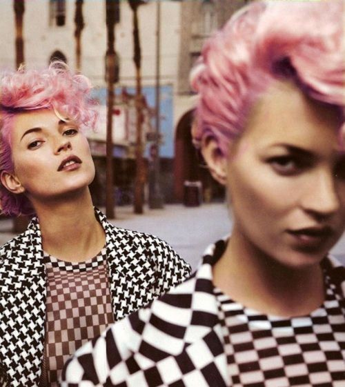 Pink mohawk with checkers.