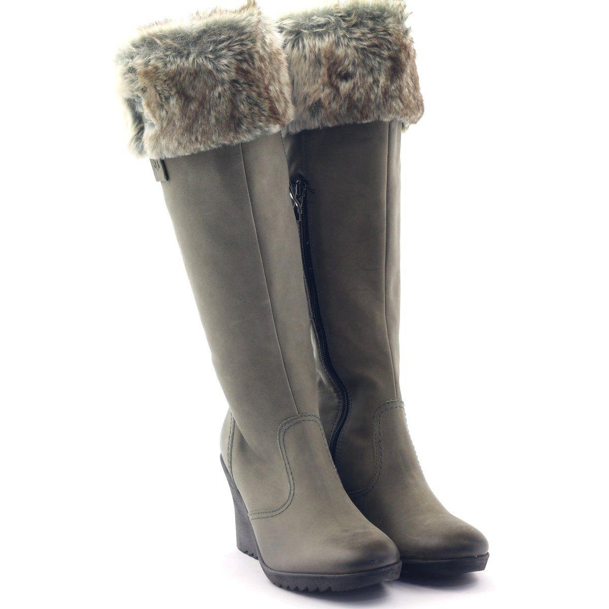 Caprice Kozaki Buty Damskie Skorzane 25607 Szare Womens Boots Leather Women Boots
