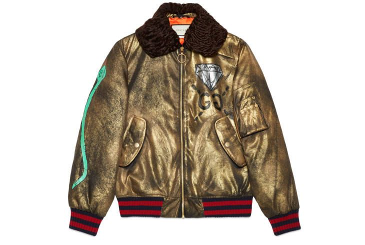 GucciGhost hand painted bomber Bomber Jacket Men, Brown Leather Bomber  Jacket, Leather Sleeve Jacket b24f7137a59