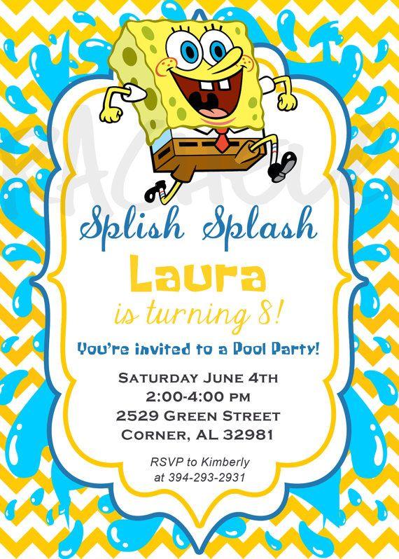 Spongebob Pool Party Birthday Invitation Printable By Rachellola - Birthday invitation spongebob background