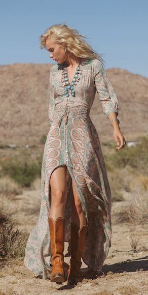 Boho chic front split lacey dress with modern hippie cowboy boots for a carefree style.