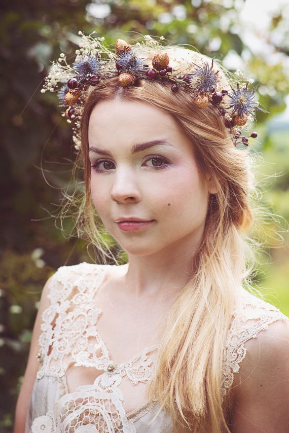 Dried Flower Crown Bridal Hair Wreath Acorn And Berry Thistle Babys Breath
