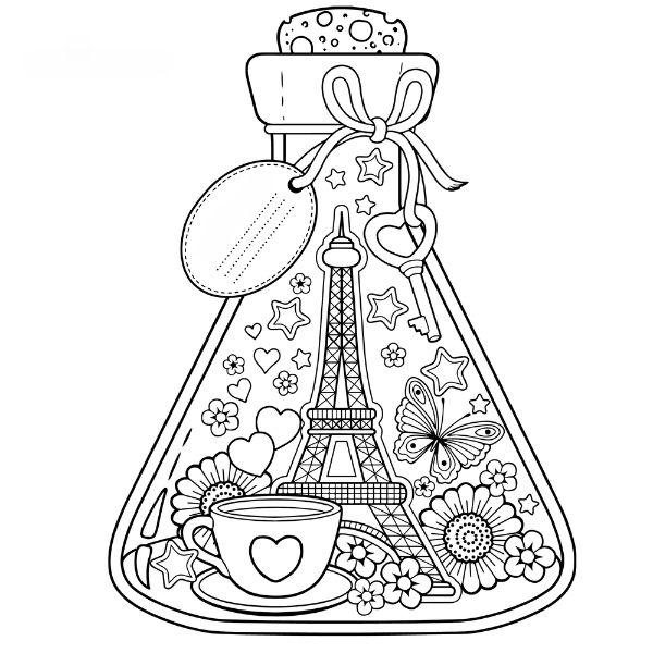 Coloriage à imprimer : tour Eiffel en bouteille | Coloriage, Coloriage à imprimer, Livre de couleur