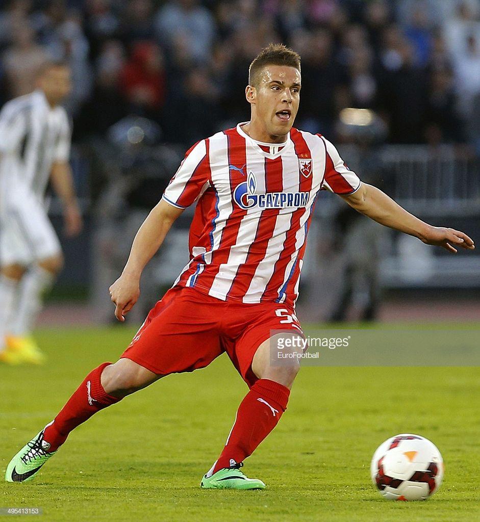 Aleksandar Kovacevic of Crvena Zvezda with the ball during