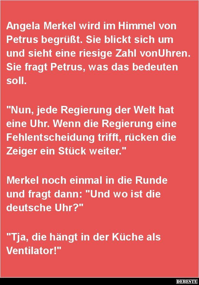 Angela Merkel wird im Himmel von Petrus begrüßt ...