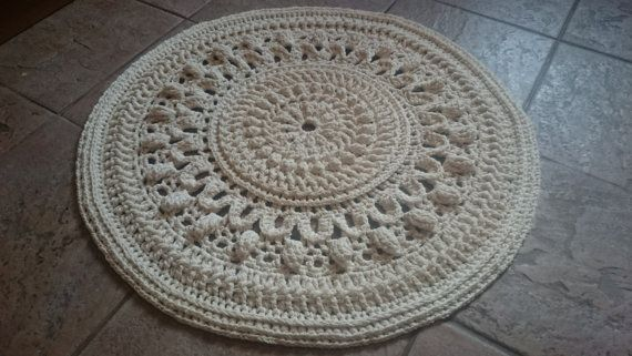 Handmade Crochet Shabby Chic Country Vintage Cottage Style Round Cream Cotton Rug 75cm 29 5 Cotton Rug Crochet Rug Vintage Cottage