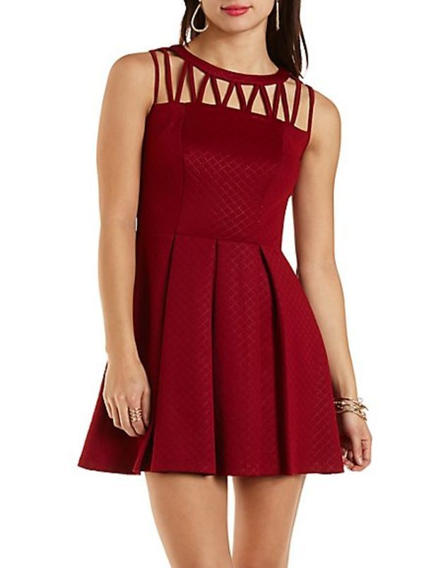 2498a053f77 Pleated Strappy Skater Dress by Charlotte Russe - Wine