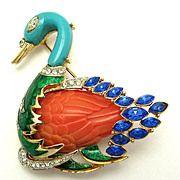 RARE Vintage HATTIE CARNEGIE Swimming Swan Enamel Sapphire Feathers Brooch