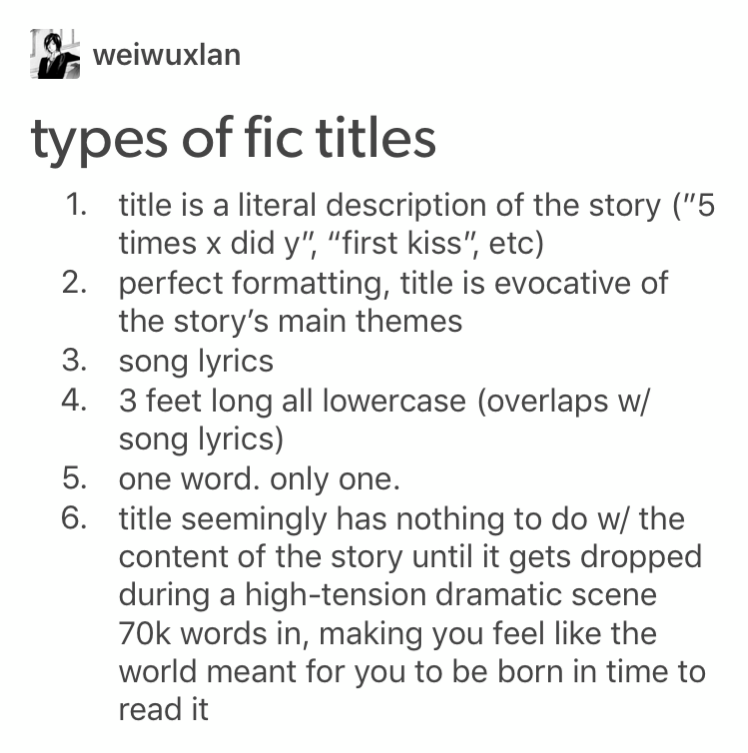 Okay But My Fave Type Of Fic Title Is This One Series In Ao3 About Forgiveness After Cacw Where The Title Of The Pre Writing Memes Book Writing Tips Book Humor