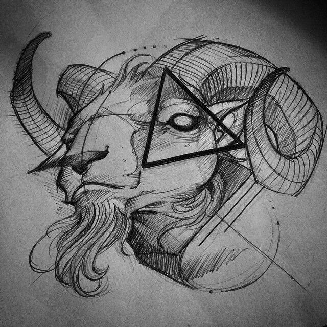 Craneo De La Cabra Modelo Para Dibujar Dibujo Tattoos Ram