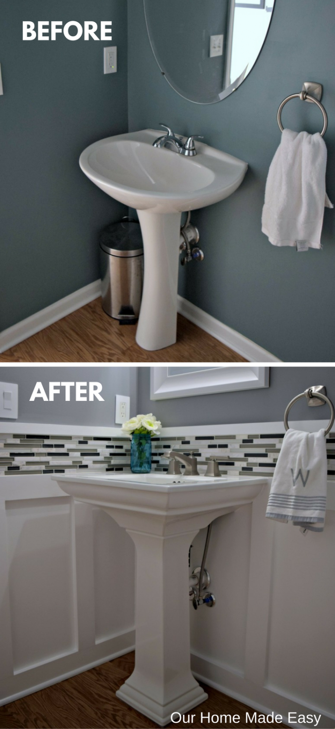 Budget powder room reveal orc week 6 bathrooms - Powder room sink ideas ...