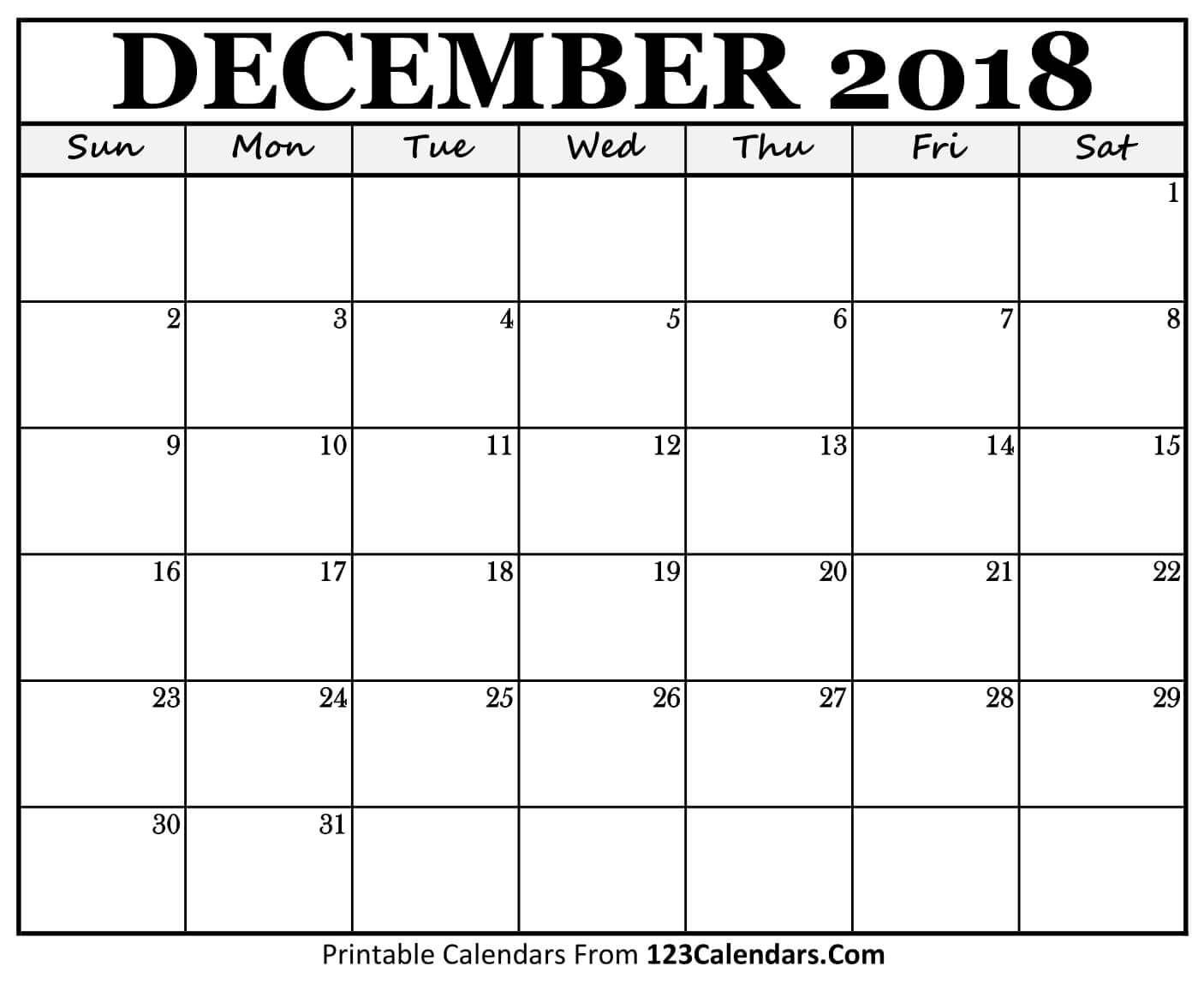 Take Print Out Calendar December 2019 Calendar Template 2018