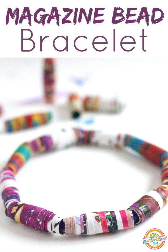 DIY Jewelry: Make Bracelets with Kids {Magazine Recycle}