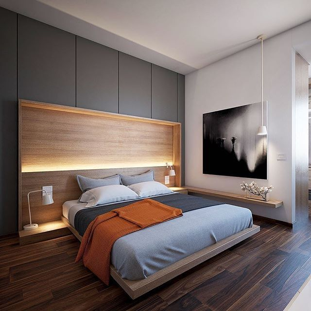 A Great Platform Bed Featuring Recessed Lighting On The Headboard #roomporn