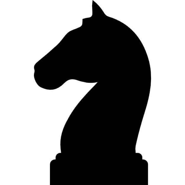 Forma de la cabeza de caballo negro de una pieza de ajedrez Icono ...