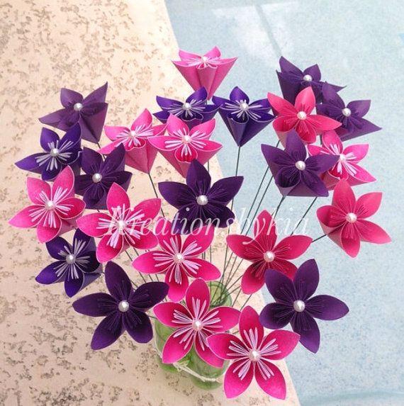 Hot Pink Dark Purple Origami Kusudama Flower By Kreationsbykia