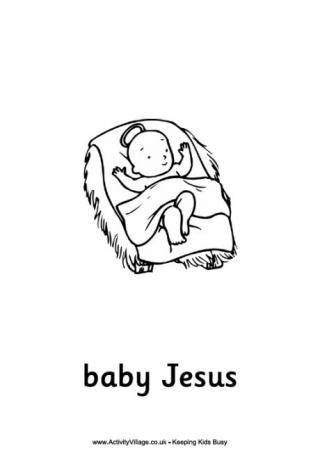Weve Got All The Bible Characters Making Up Christmas Story In Appealing Child Friendly Illustrations With Words Underneath Baby Jesus Colouring Page