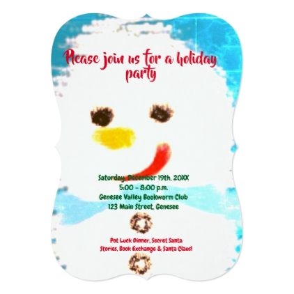Turquoise snowman christmas party invitation stopboris