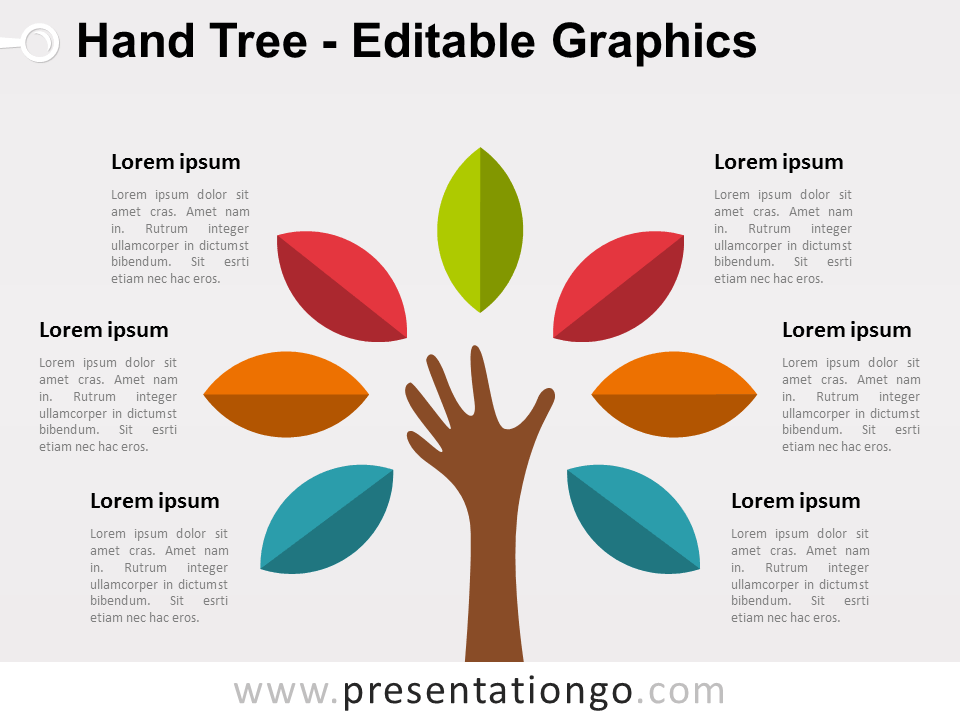 free hand tree powerpoint diagram - colored leafs | powerpoint, Modern powerpoint