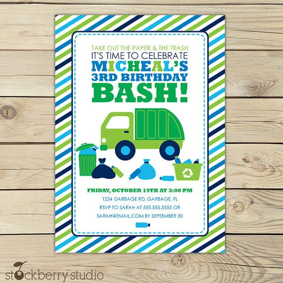 17 Best images about Birthday Theme Garbage Trucks – Truck Birthday Party Invitations